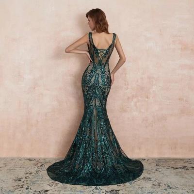 ZY189 Green Evening Dresses Long V Neck Prom Dresses Glitter_3