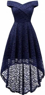 Vintage Floral Lace Off Shoulder Hi-Lo Formal Swing Dress_1