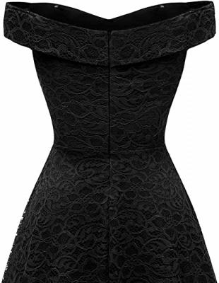 Vintage Floral Lace Off Shoulder Hi-Lo Formal Swing Dress_10