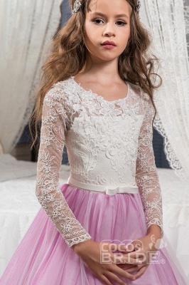 Scoop Neck Long Sleeves Ball Gown Flower Girls Dress_3