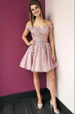 ZY205 Beautiful Evening Dress Short Pink Cocktail Dresses With Lace_2