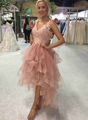 ZY191 Cocktail Dresses Short Front Long Back Prom Dresses With Lace_2