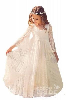 White Scoop Neck Long Sleeves Dress Flower Girls Dress_5