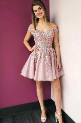 ZY205 Beautiful Evening Dress Short Pink Cocktail Dresses With Lace_1