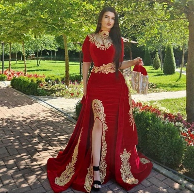 ZY170 Elegant Evening Dresses Long Red Prom Dresses With Sleeves_2