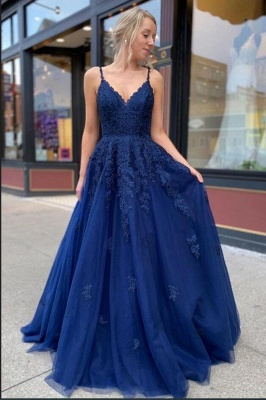 ZY213 Royal Blue Evening Dresses Long Cheap Prom Dresses With Lace_2