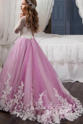 Scoop Neck Long Sleeves Ball Gown Flower Girls Dress_2