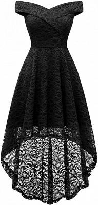 Vintage Floral Lace Off Shoulder Hi-Lo Formal Swing Dress_5
