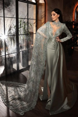 ZY188 Silver Evening Dresses With Lace Beautiful Prom Dresses Long Sleeves_1