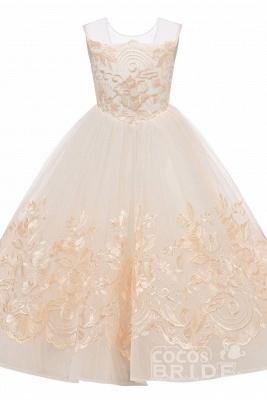 Beige Scoop Neck Sleeveless Ball Gown Flower Girls Dress_7