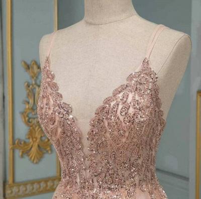 ZY193 Evening Dresses Long With Glitter Evening Dress V Neckline Online_4