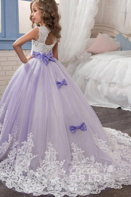 White Scoop Neck Sleeveless Ball Gown Flower Girls Dress_2