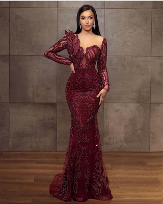 ZY199 Wine Red Evening Dresses Long Glitter Prom Dresses With Lace Sleeves_2