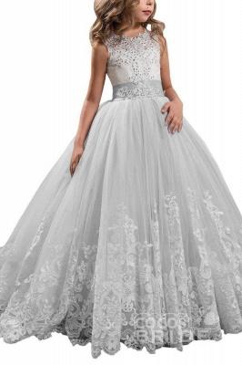 White Scoop Neck Sleeveless Ball Gown Flower Girls Dress_5