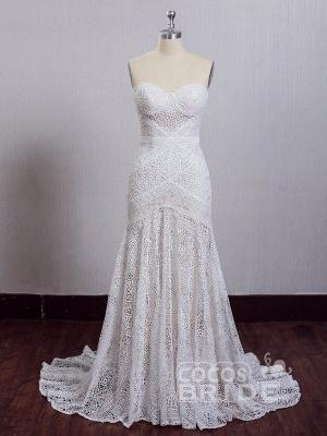 Ivory Lace Beach Wedding Dresses Sweetheart Neck Rustic Boho Wedding Dresses_12
