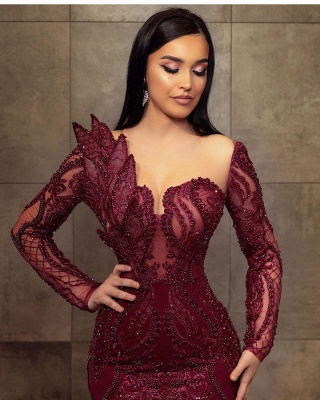 ZY199 Wine Red Evening Dresses Long Glitter Prom Dresses With Lace Sleeves_3