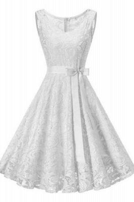 Vintage White Floral Lace Tunic Women Sleeveless Short Dress_1