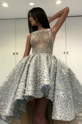 ZY198 Luxury Cocktail Dresses With Lace Prom Dresses Short Front Long Back_1