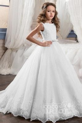 White Scoop Neck Sleeveless Ball Gown Flower Girls Dress_6
