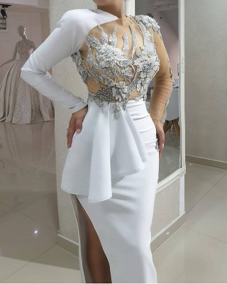 ZY173 Evening Dresses Long White Prom Dresses With Sleeves Online_3