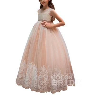 Pink Scoop Neck Sleeveless Ball Gown Flower Girls Dress_4