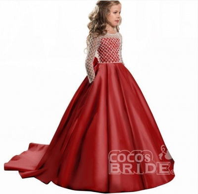 White Scoop Neck Long Sleeves Ball Gown Flower Girls Dress_7