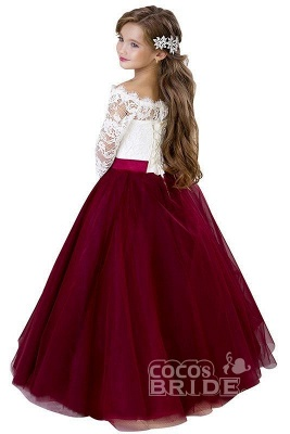 Scoop Neck 3/4 Sleeves Ball Gown Flower Girls Dress_3