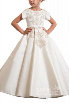 Scoop Neck Short Sleeves Ball Gown Flower Girls Dress_5