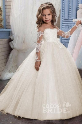 White Scoop Neck Long Sleeves Ball Gown Flower Girls Dress_2