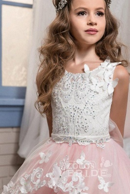 White Scoop Neck Sleeveless Ball Gown Flower Girls Dress_2