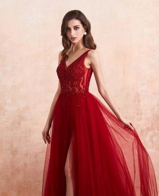 ZY176 Elegant Evening Dresses V Neckline Prom Dresses Long Red Online_6