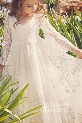 White Scoop Neck Long Sleeves Dress Flower Girls Dress_2