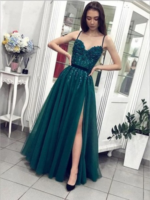 ZY206 Designer Evening Dresses Long Green Evening Wear With Lace_2