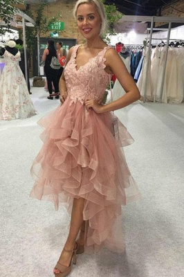 ZY191 Cocktail Dresses Short Front Long Back Prom Dresses With Lace_1