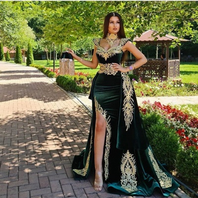ZY174 Evening Dresses Long Green Evening Wear Prom Dress With Lace_3