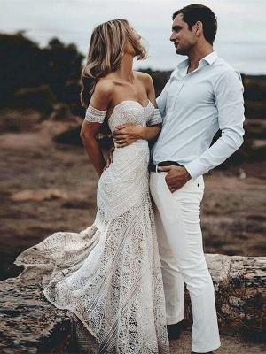 Ivory Lace Beach Wedding Dresses Sweetheart Neck Rustic Boho Wedding Dresses_1