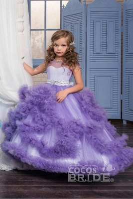 Violet Scoop Neck Short Sleeves Ball Gown Flower Girls Dress_7