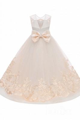 Beige Scoop Neck Sleeveless Ball Gown Flower Girls Dress_8