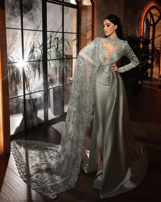 ZY188 Silver Evening Dresses With Lace Beautiful Prom Dresses Long Sleeves_2