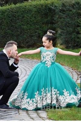 Beige Scoop Neck Sleeveless Ball Gown Flower Girls Dress_3