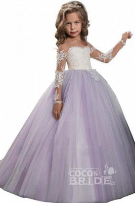 White Scoop Neck Long Sleeves Ball Gown Flower Girls Dress_5