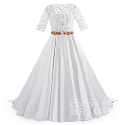 White Scoop Neck 1/2 Sleeves Trumpet Flower Girls Dress_4