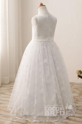 White Scoop Neck Short Sleeveless Ball Gown Flower Girls Dress_3