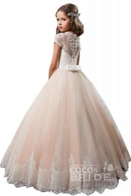 Light Pink Scoop Neck Short Sleeve Ball Gown Flower Girls Dress_2