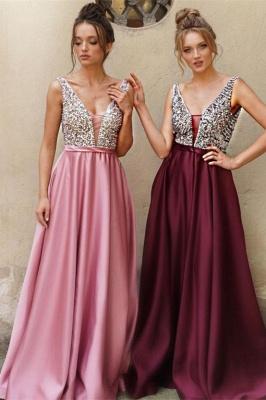 ZY171 Designer Evening Dresses Wine Red Evening Wear Prom Dress V Neckline_3