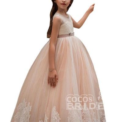 Pink Scoop Neck Sleeveless Ball Gown Flower Girls Dress_5
