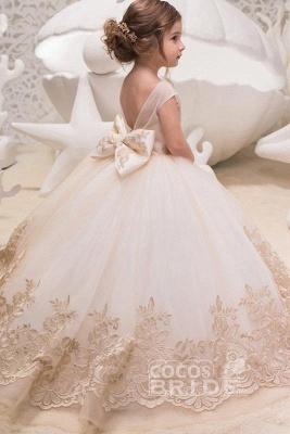 Beige Scoop Neck Sleeveless Ball Gown Flower Girls Dress_5