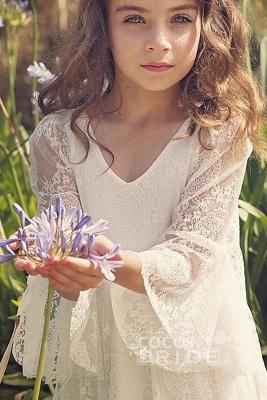 White Scoop Neck Long Sleeves Dress Flower Girls Dress_4