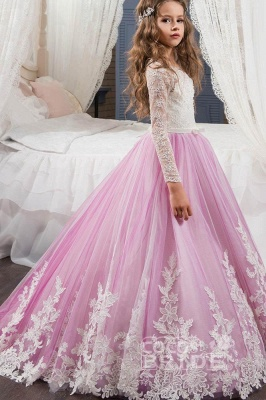 Scoop Neck Long Sleeves Ball Gown Flower Girls Dress_6