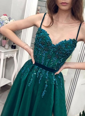 ZY206 Designer Evening Dresses Long Green Evening Wear With Lace_3